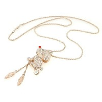 1pc Women Rhinestone Lovely Puppy Pendant Long Alloy Chain Tassel Sweater Necklace 62699