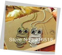 Min order 10usd (Mix order) Fashion 2013 Restore ancient ways owl necklace long chain necklaces pendants Beauty ^^