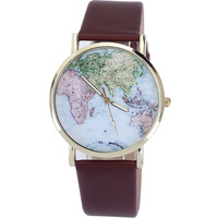 Wholesale rose gold plated PU fashion leather watches quartz lady watch light color world map design girls hours dropship