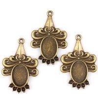 45pcs/lot New Fashion Vintage Bronze Alloy Flower Base Bank Charms Fit Handmade 36*24*3mm 145643