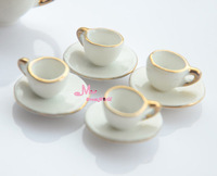 LOT of 4 sets Dollhouse Miniature porcelain White China Coffee Cups/sausers