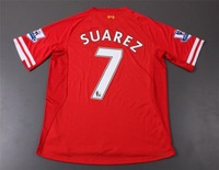 Free Shipping 2013-2014 Liverpool A++++ thailand quality  soccer jersey premier league armbands + SUAREZ #7  football jersey