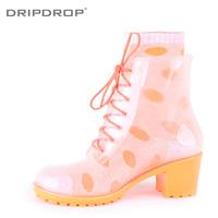 Freeshipping New arrival dripdrop full transparent colorful high-heeled martin rainboots rain boots socks
