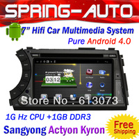 FREE SHIPPING For Ssang Actyon Kyron 2 Din Android 4.0 Car PC Multimedia 7  inch A10 1G CPU 1G RAM 3G Wifi BT Ipod TV AUX