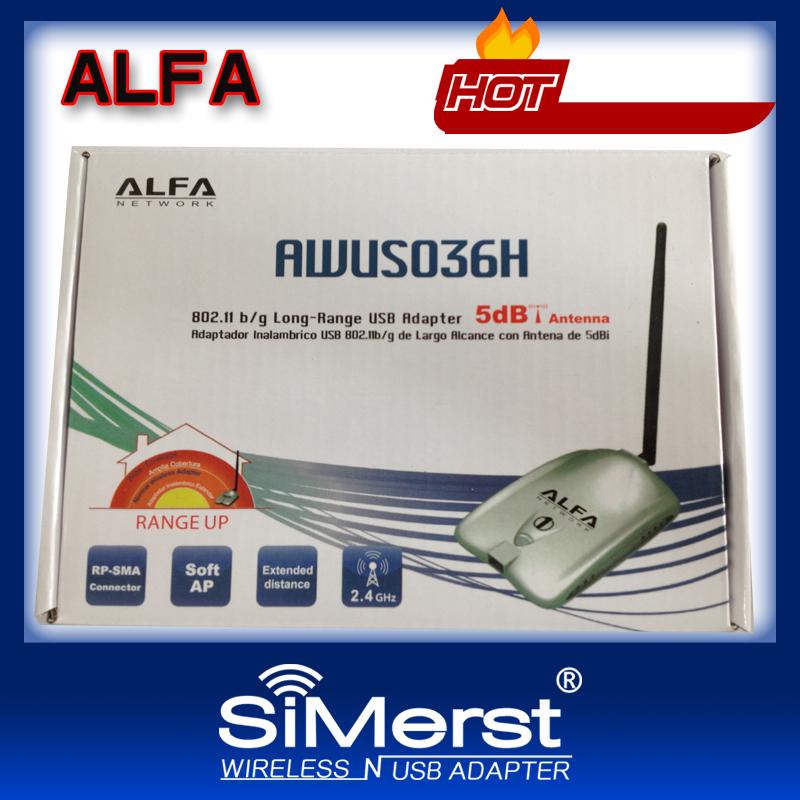 Free 2013 New ALFA Network AWUSO36H 802.11 b/g Long-Rang USB Adapter Soft AP RP-SMA connector WPA WPA2 WEP 5X WiFi Range Up(China (Mainland))