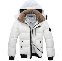 2013 Men Winter Thickening Wadded Jacket Outwear Large Fur Collar Cap Cotton-padded Coat White Men's Jackets,Free Shipping,R1377