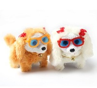 New special Electric plush toys dog,cute Big ears glasses dogs can bark and move forward backward,baby fun toys,Free shipping