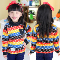 2013 autumn and winter polka dot girls clothing child thickening plus velvet pullover sweater tx-2327
