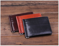 Free shipping fashion New style men purse Genuine Italian vegetable cow leather money clips wallet MT-MC-13028