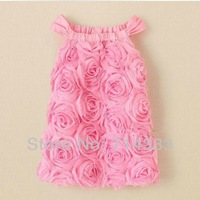 2014 New Arrival Koopo Female Child Pink Rose One-Piece Dress Spaghetti Strap dresses for lovely baby girl kids Free Shipping!