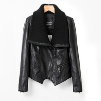 New 2013 Autumn Winter Leather Black Fashion Motorcycle Jacket Women's Short Jackets PU Jacket Female Outerwear High Quality