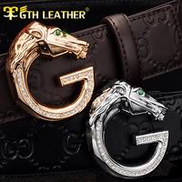 New 1:1 Luxury First Class Cowhide Leather Belt Mens Genuine Leather Belt  Man Golden/Silver Diamond Horse Buckle Belts