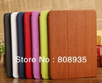 High Quality PU Leather Case Cover For iPad 5 New Wood grain PU Leather Stand Case For iPad Air Free shipping 100pcs/lot