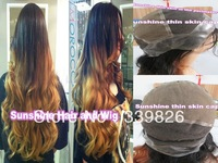 "Beautiful! 30"" two tone ombre color #1b/144 loose wave indian human hair thin skin perimeter full lace wigs Free Shipping"
