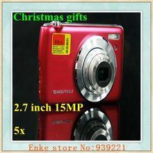 Christmas gifts black+silver colour Digital camera 2.7 inch 15MP 5x optical zoom macro slim digital cameras
