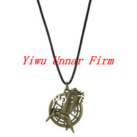New Arrival Hot Movie The Hunger Games Katniss Catching Fire Bird Pendant Leather Necklace