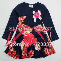 FREE SHIPPING H3439# 18m/6y 5piece /lot printed beautiful flower party dress and  summer long sleeve dress for baby girls
