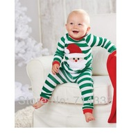 Wholesale 5sets/lot Christmas Santa Striped Baby Suit Boy Clothing Set with Long Sleeve for Spring and Autumn Free Shipping.