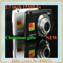 3pcs Digital camera 2.7 inch 15MP 5x optical zoom macro slim digital cameras Christmas gifts black+silver colour
