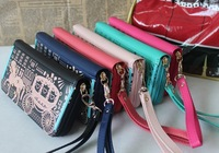 2013 new fashion hot-selling carriage wallet women's long design wallet cartoon rivet wallet ladies' coin purse free shipping