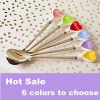 New Arrival Wholesale 30pcs/lot Coffee Stainless Steel Long Spoon,  Zakka Ceramic  Love Heart Tea/Soup Handled Spoon