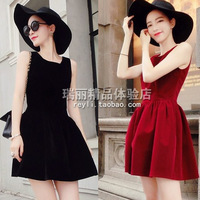 C2-24 2013 female autumn beautiful velvet high waist vest one-piece dress tank dress