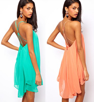 Fashion sexy spaghetti strap back metal buckle cross cutout sleeveless solid color chiffon one-piece dress