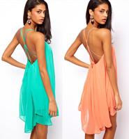 Fashion sexy spaghetti strap back metal buckle cross cutout sleeveless solid color chiffon one-piece dress