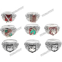 Free Shipping 8pcs Attack on Titan Ring Finger Ring Figure Cartoon Souvenir Collection Set Attack on Titan Cosplay Accessories