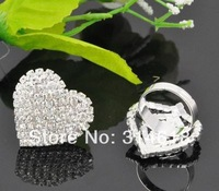 Fashion Jewelry Latest Rhinestone Heart Ring Adjustable Crystal Ring 6pcs/lot Free Shipping