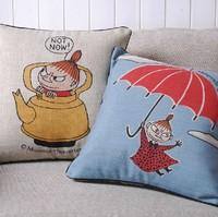 Creative cartoon retro Cute Moomin Characters Cushion cover Cartoon pillow cushion for Office Home Decor Sofa Cushions 45*45cm