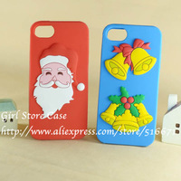 New 3D Cute Cartoon Father Christmas Santa Claus Jingling Bell Mix Design Soft Silicone Case For Apple iPhone 4 4G 4S 5G 5S