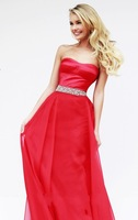 2014 New Arrival Beautiful Sweetheart A-Line Red Chiffon Prom Dresses Evening Dress Long