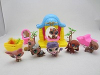 "2pcs Free shipping  2.4"" Littlest Pet Shop LPS Animals Figures Toy little pet figures house and 4 puppests"