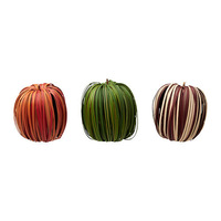 3 pieces/lot assorted colors apple shape striped christmas decoration.