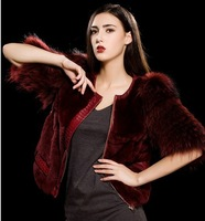 2013New High Fashion Fur Coat , Queen Markings Mink Coat, Three Quarter Sleeve Fur Stitching High quality