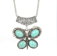Min. Mix Order 5$ Women Fashion Tibetan Jewelry Butterfly Pendant Charm Necklace Vintage Accessories  Free shipping RuYiXLM008