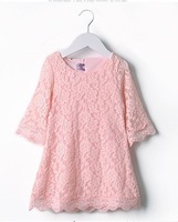 Hot! Christmas gift summer Baby Girls Teenagers Middle-sleeve Pink Lace Dress, 6pcs/lot, A-BG-436