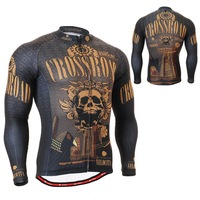 2701Golden Skull Breathable Non-Slip Silicone Band Long Sleeve Full Zipper Cycling Jersey Outdoor MTB Road Bike Clothing S~3XL