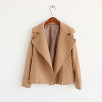 Cool large lapel oblique zipper short design wool outerwear