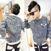 Les t baseball uniform HARAJUKU embroidery male jacket outerwear trend denim coat outerwear