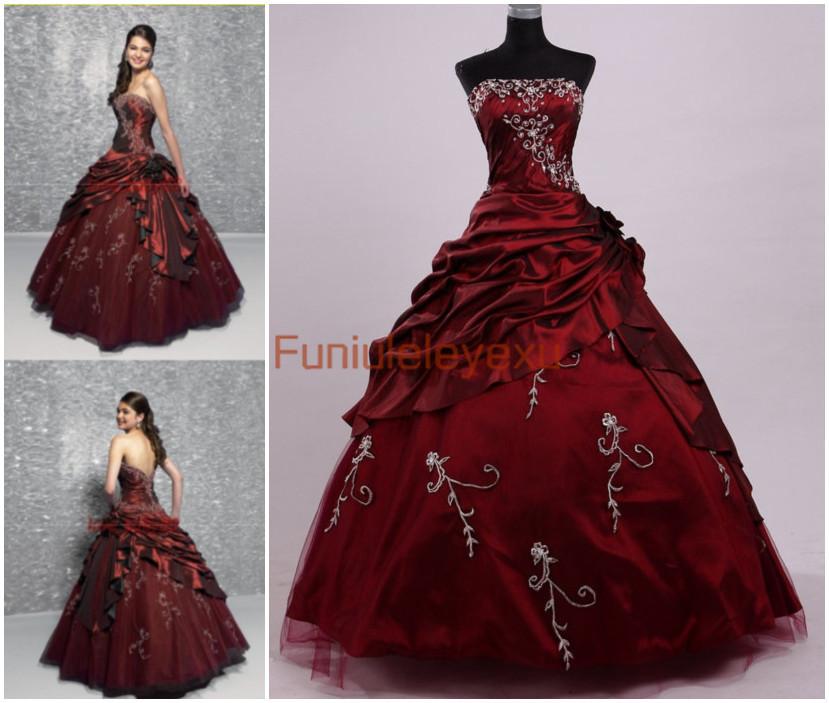 Hot vente robe de bal bustier manches perles vin rouge bourgogne formelle. concours. parti robe de soirée quinceanera robes de bal à long