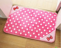 Hello Kitty  Super Coral Fleece Lovely bowknot door mat bedroom bed pad sitting room carpet non-slip mat Cute  home decorations