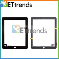 Touch Screen Glass Digitizer for iPad 2 with Free 3M Adhesive Glue Sticker Replacement Repair Parts Black White Wholesale