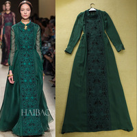New collection women's autumn spring runway fashion gladiator style vintage embroidery designer maxi long dress new fashion 2013