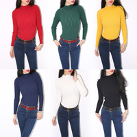 2013 autumn and winter female aa vintage stand collar solid color tight sweater pullover thread basic shirt