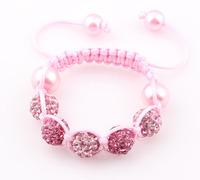 NEW Baby Shamballa Bracelet Crystal Pearl Disco Ball Beads Charm Bracelet Free Shipping Wholesale ZB76