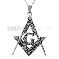Free Shipping! 3pieces Freemasonry Mason Masonic G Square and Compass Amulet Pendant MEP650