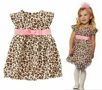 Retail New 2013 Baby Girls Clothes Children's Western Style Dress Pink Bow Belt Fly Sleeve Leopard Dress Casual Dresses