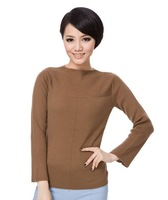 Women's pseudo-ginsheng wool slit neckline sweater short design basic shirt